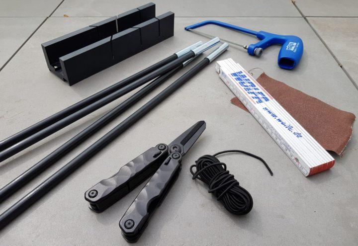 Zeltstange-reparieren-Zeltstange-und-Reparaturmaterialien