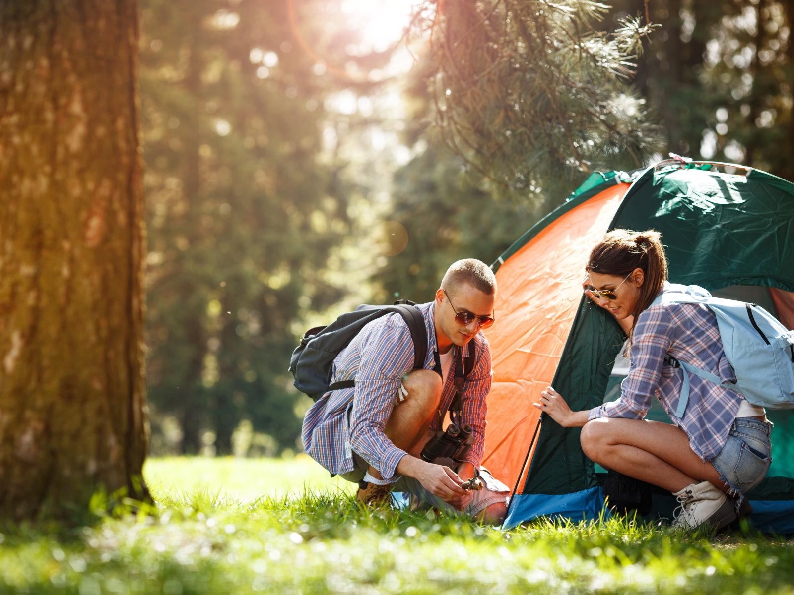 Ein Paar baut ein Kuppelzelt im Wald auf